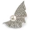 Crystal Shell Faux Pearl Fashion Brooch