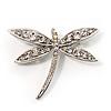 Classic Crystal Dragonfly Brooch (Silver Tone)