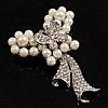 Elegant Imitation Pearl Crystal Butterfly Brooch