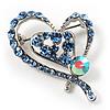 Blue Crystal Heart Brooch