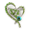 Green Crystal Heart Brooch