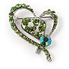 Green Crystal Heart Brooch