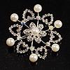 Rhodium Plated Faux Pearl Crystal Snowflake Brooch