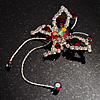 Red Crystal Butterfly With Dangling Tail Brooch