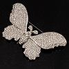 Gigantic Pave Swarovski Crystal Butterfly Brooch (Clear)