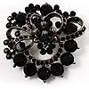 Striking Diamante Corsage Brooch (Jet Black)