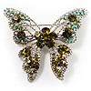 Dazzling Olive Green Crystal Butterfly Brooch