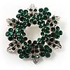 Emerald Green Crystal Wreath Brooch in Silver Tone - 50mm Diameter