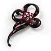 Black Tone Crystal Fancy Brooch (Red)
