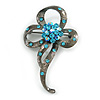 Black Tone Crystal Fancy Brooch (Light Blue)