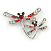 Fancy Red Dragonfly Fashion Brooch