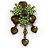 Grandma's Heirloom Charm Brooch (Grass Green&Olive)