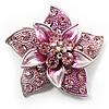 3D Enamel Crystal Flower Brooch (Pink)