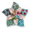 3D Enamel Crystal Flower Brooch (Multicoloured)