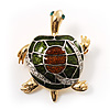 Small Enamel Crystal Turtle Brooch (Green&Brown)