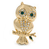 Gold Tone Crystal Owl Brooch