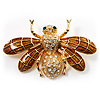 Flying Bee Gold Crystal Brooch
