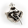 Silver Tone 'Dancing Lady' Crystal Brooch