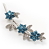 Rhodium Plated Blue Diamante Flower Bouquet Brooch