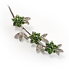 Rhodium Plated Emerald Green Diamante Flower Bouquet Brooch