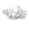 Rhodium Plated Delicate Faux Pearl Fashion Brooch
