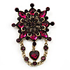 Vintage Statement Charm Brooch (Purple)