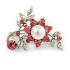 Faux Pearl Floral Brooch (Pink)