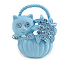 Kitten In The Basket Crystal Brooch (Light Blue)