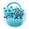 Kitten In The Basket Crystal Brooch (Light Blue)