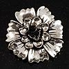 Vintage Dimensional Floral Brooch (Antique Silver Tone)