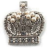 Oversized Statement Simulated Pearl And Crystal Crown Brooch