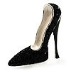 Jet Black Crystal Stiletto Shoe Brooch (Silver Tone)
