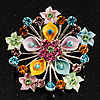 Multicoloured Glittering Diamante Floral Brooch (Silver Tone)