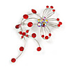 Red Flower And Butterfly Art Nouveau Brooch (Silver Tone)