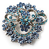 Blue Diamante Corsage Brooch