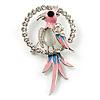 Crystal Parrot Bird Brooch (Silver&Pink) - 68mm L