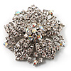 Victorian Corsage Flower Brooch (Silver & Clear Crystals)