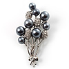 Faux Pearl Floral Brooch (Silver & Black)
