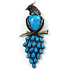 Gigantic Turquoise Stone & Black Crystal Bird Brooch (Antique Silver)