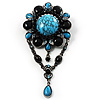 Oversized Vintage Turquoise Stone Charm Floral Brooch