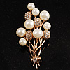 Faux Pearl Floral Brooch (Gold & White)