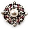 Wedding Corsage Faux Pearl Crystal Brooch (Antique Silver)