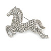 Clear Crystal Galloping Horse Brooch (Silver Tone)