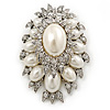 Oversized Vintage Corsage Faux Pearl Brooch (Light Cream) - 75mm Tall