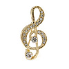 Small Gold Tone Crystal Music Treble Clef Brooch - 35mm L