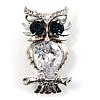 Stunning CZ Owl Brooch (Silver Tone)