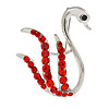 Red Crystal Swan Brooch (Silver Tone)