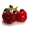 Tiny Red Diamante Cherry Pin (Gold Tone) - 25mm Across
