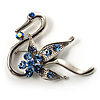 Graceful Blue Crystal Swan Brooch (Silver Tone)