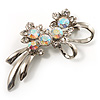 Rhodium Plated AB Crystal Floral Brooch
